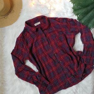 Hollister Red & Blue Flannel Button Down Shirt